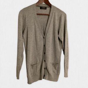 Eddie Bauer Grey Cotton Cashmere Cardigan Size M